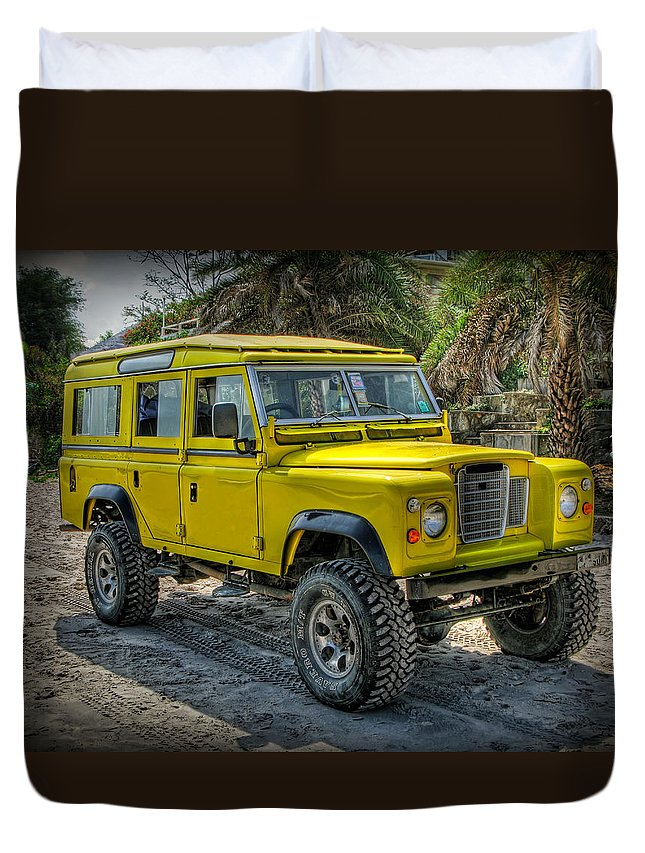 Jeep Duvet Cover featuring the photograph Yellow Jeep by Adrian Evans