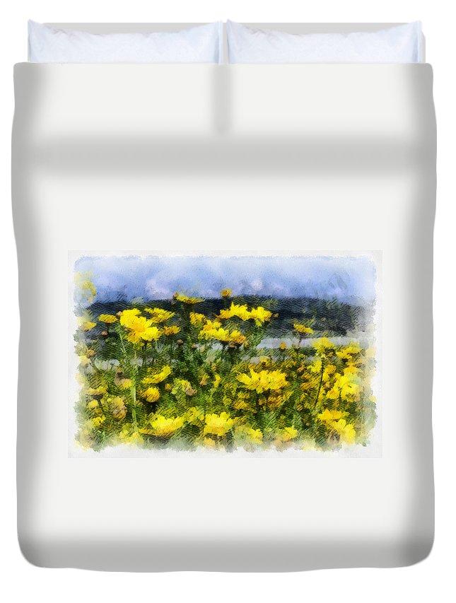 Landscape Duvet Cover featuring the photograph Yellow Landscape by Michael Goyberg