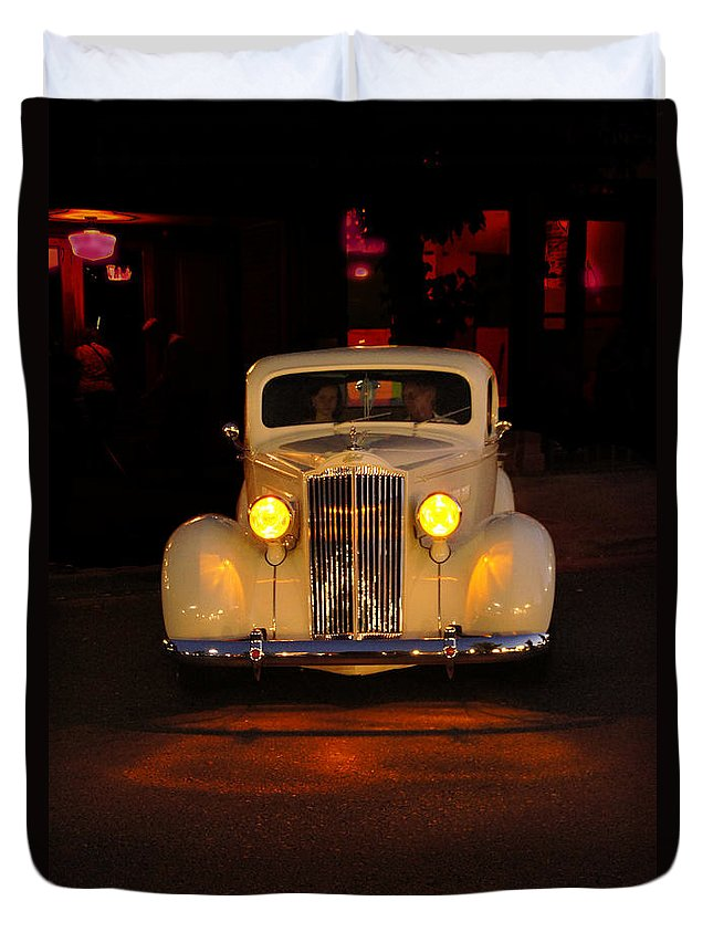 Yellow Duvet Cover featuring the photograph Yellow Lights On Version 2 by Mick Anderson