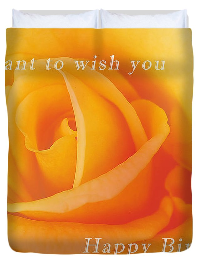 Yellow Rose Birthday Card Duvet Cover For Sale By Michael Peychich