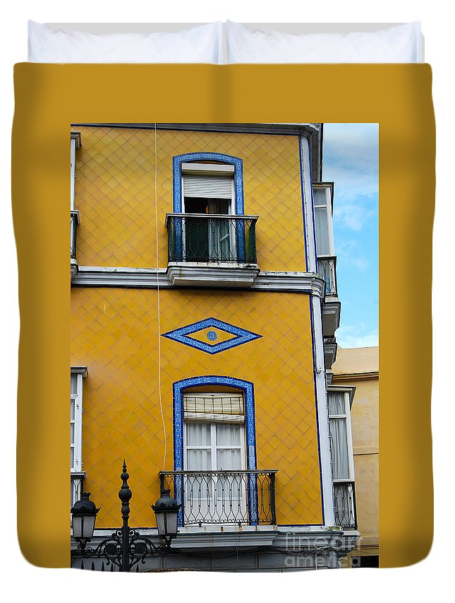 Yellow Duvet Cover featuring the photograph Yellow Tile Building In Cadiz Spain by Eva Kaufman