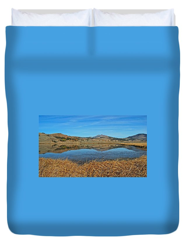 Yellowstone Duvet Cover featuring the photograph Yellowstone Reflections 9437 by Michael Peychich