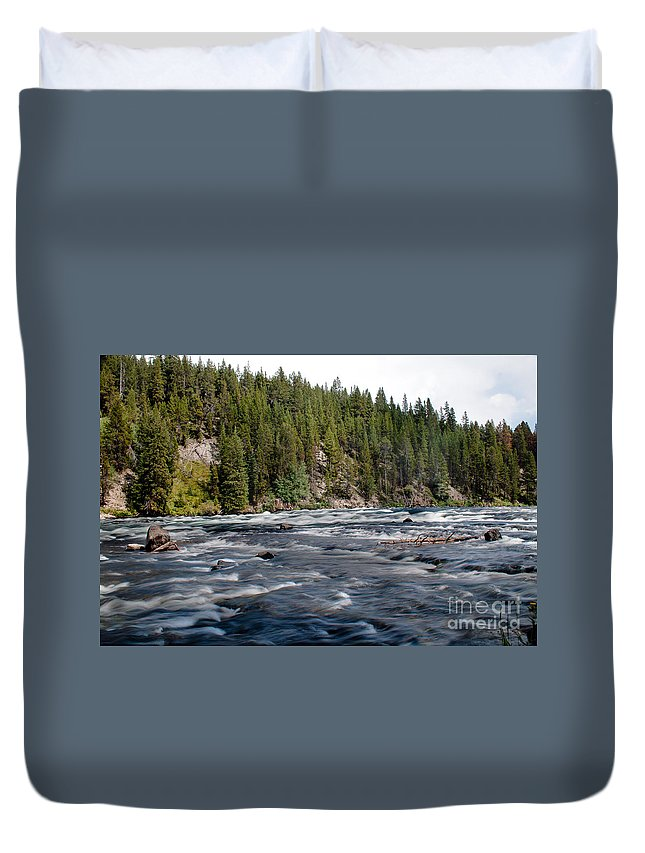 River Duvet Cover featuring the photograph Yellowstone River by Robert Bales