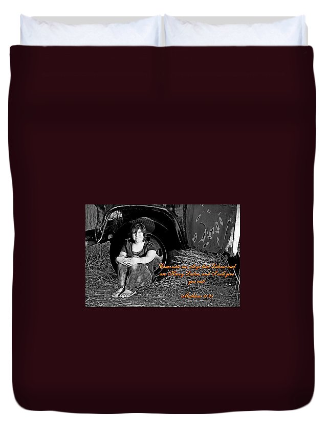 Female Duvet Cover featuring the photograph You Shall Find Rest by Charles Benavidez