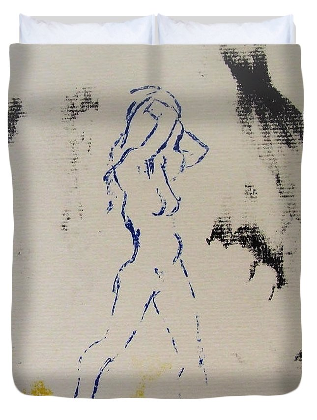 Nude Duvet Cover featuring the painting Young Female Nude In Agony While Running From Her Thoughts In Blue Yellow Black Serigraph Monoprint by M Zimmerman