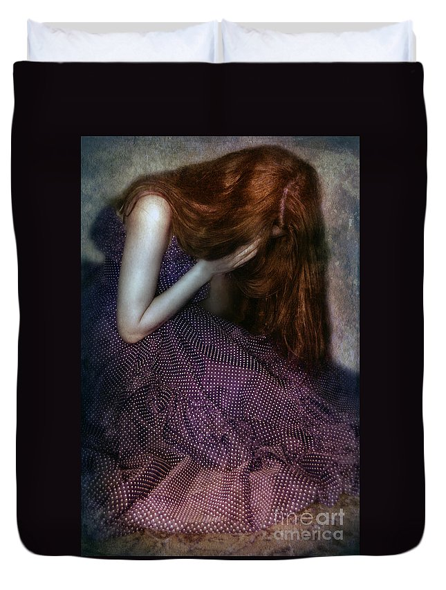 Woman Duvet Cover featuring the photograph Young Lady Crying by Jill Battaglia