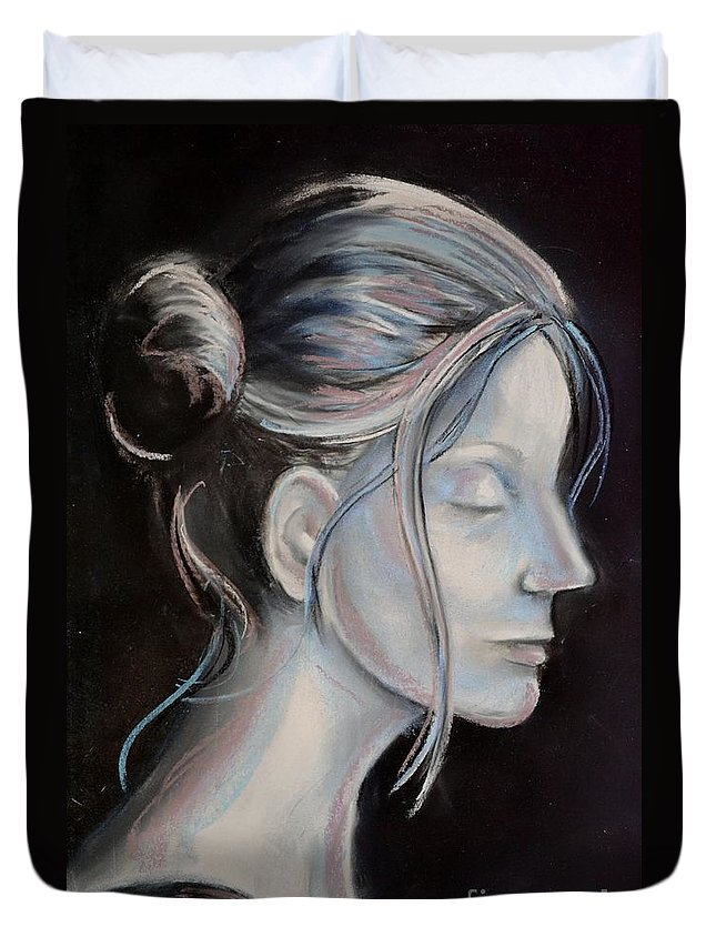 Woman Duvet Cover featuring the drawing Young Woman In Profile-quick Self Study by AE Hansen