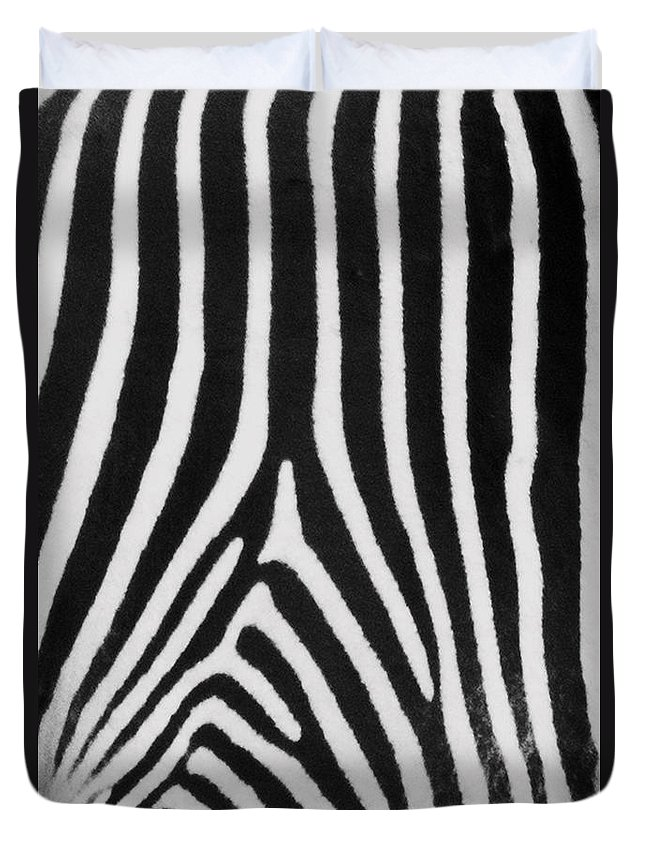 Zebra Duvet Cover featuring the photograph Zebra Stripes by David Pringle