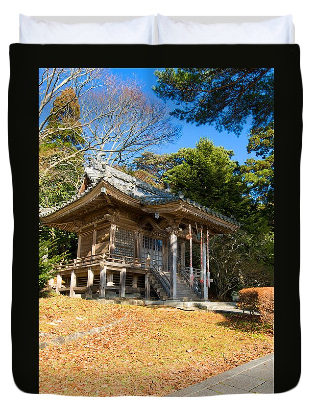 Ancient Duvet Cover featuring the photograph Zen Building In A Garden At A Sunny Morning by U Schade