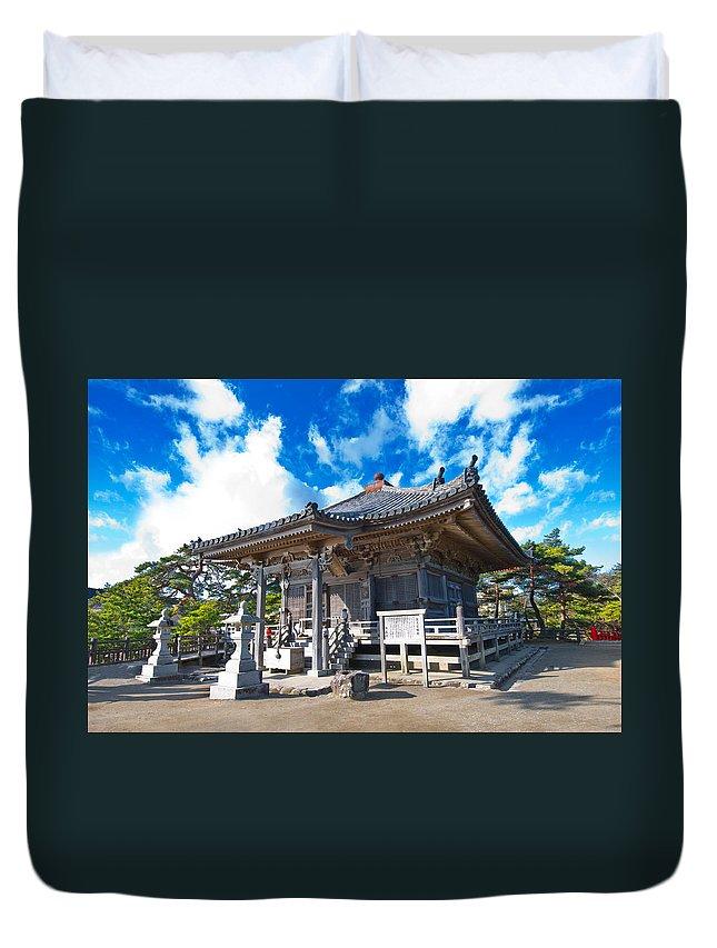 Ancient Duvet Cover featuring the photograph Zen Garden At A Sunny Morning by U Schade