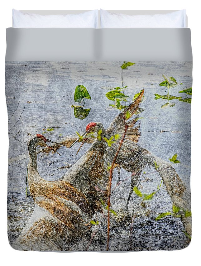 Sandhill Duvet Cover featuring the mixed media Zhandou by September Stone