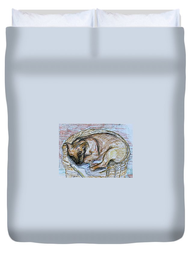 Dog Duvet Cover featuring the drawing Zoey by Caroline Street