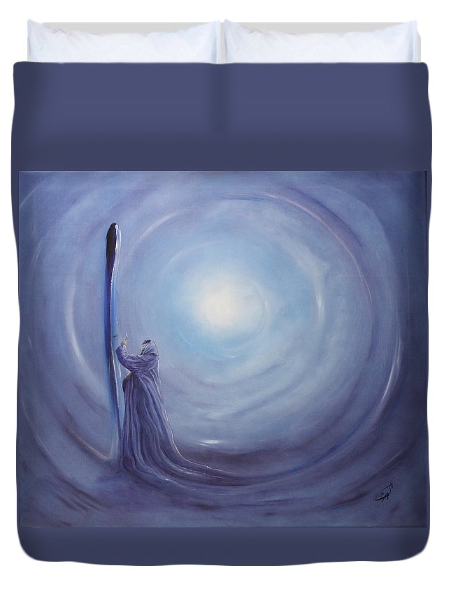 Woman Duvet Cover featuring the painting ---das Licht In Der Hand--- by Carola Eleonore Thiele