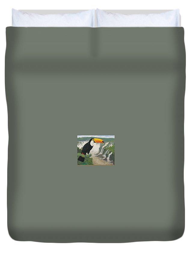 Tucan Duvet Cover featuring the painting    Tucan by Juan Enrique Marquez