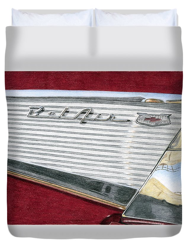 Classic Duvet Cover featuring the drawing 1957 Chevrolet Bel Air Convertible by Rob De Vries