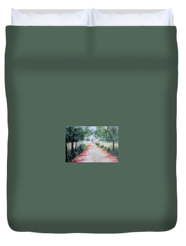 Country Road Duvet Cover featuring the painting A Country Road by Vicki Housel