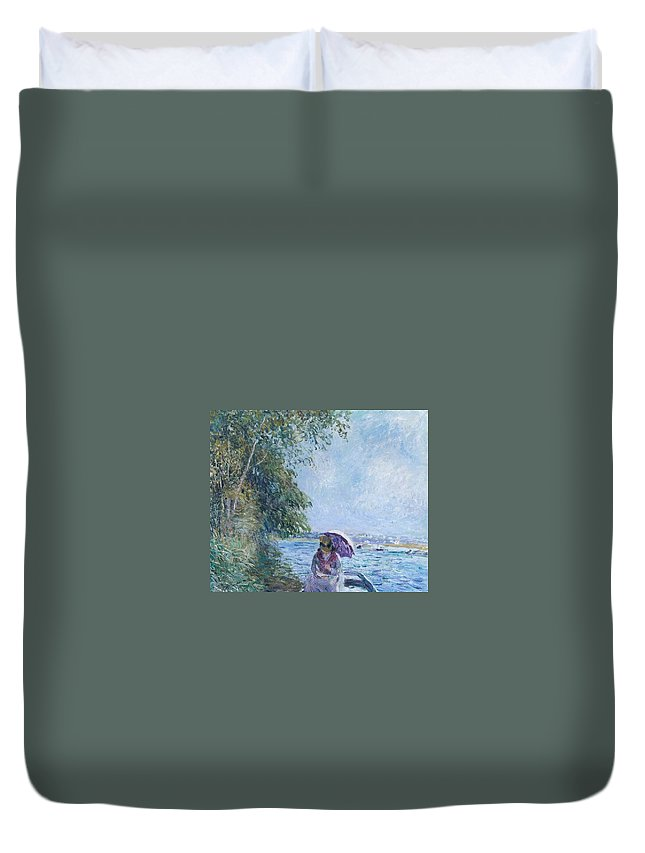 Boat At Veneux - Afternoon In September Duvet Cover featuring the painting Afternoon In September by MotionAge Designs