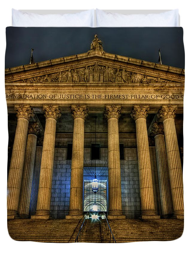 Architecture Duvet Cover featuring the photograph ... And Justice For All by Evelina Kremsdorf