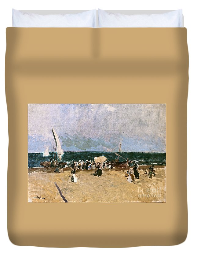 Joaquin Sorolla Y Bastida (spanish Duvet Cover featuring the painting At The Beach Valencia by Celestial Images