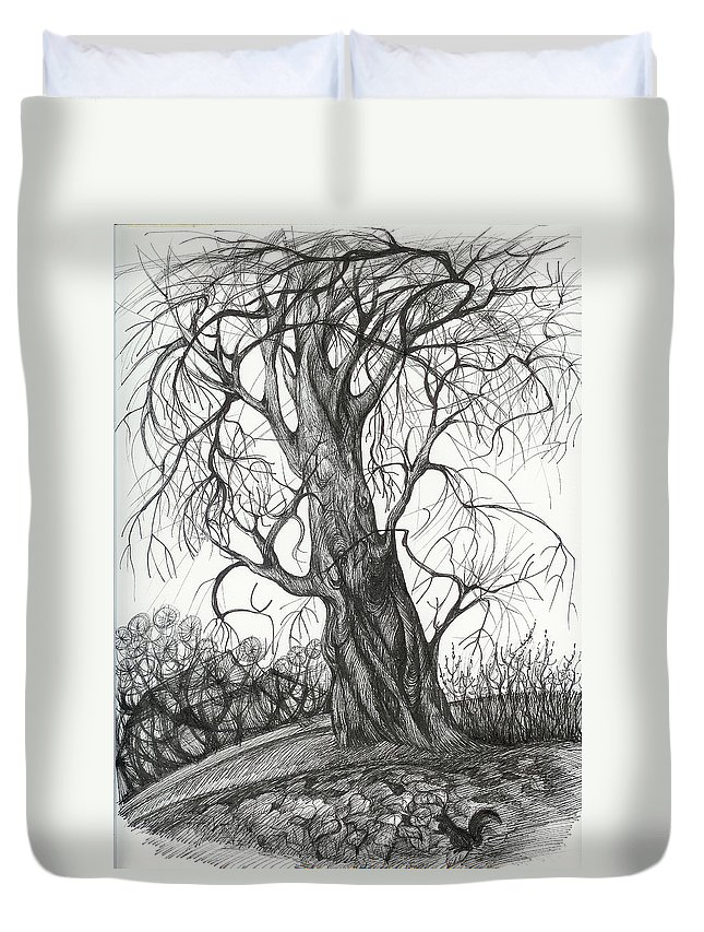 Pen And Ink Duvet Cover featuring the drawing Autumn Dancing Tree by Anna Duyunova