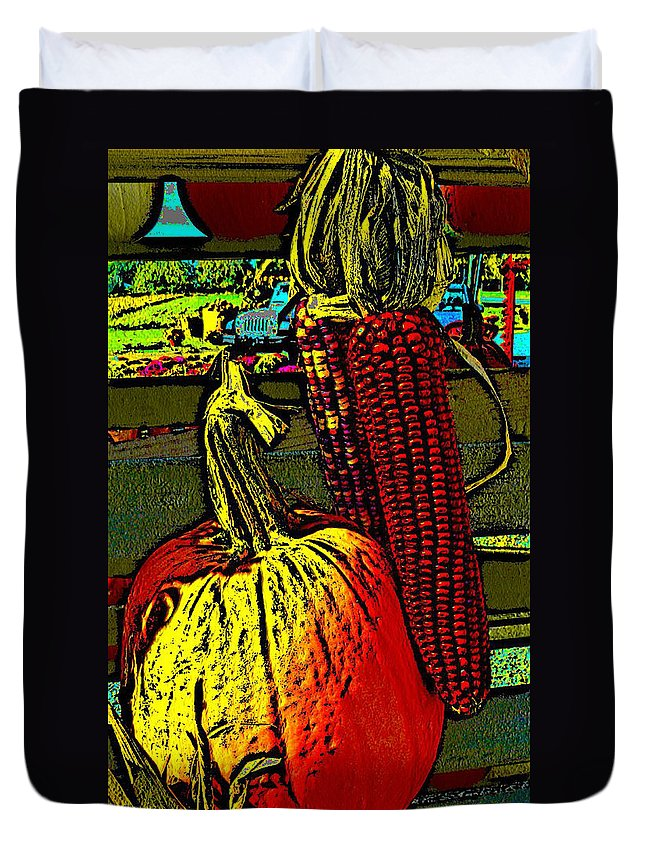 Ebsq Duvet Cover featuring the photograph Autumn Trio by Dee Flouton