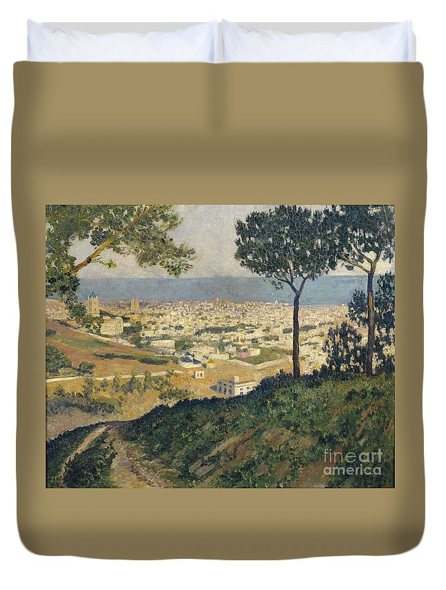 Dar�o De Regoyos Duvet Cover featuring the painting Barcelona Seen From Vallvidrera by Celestial Images