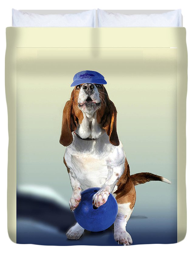 Animal Duvet Cover featuring the painting Bowling Hound by Regina Femrite