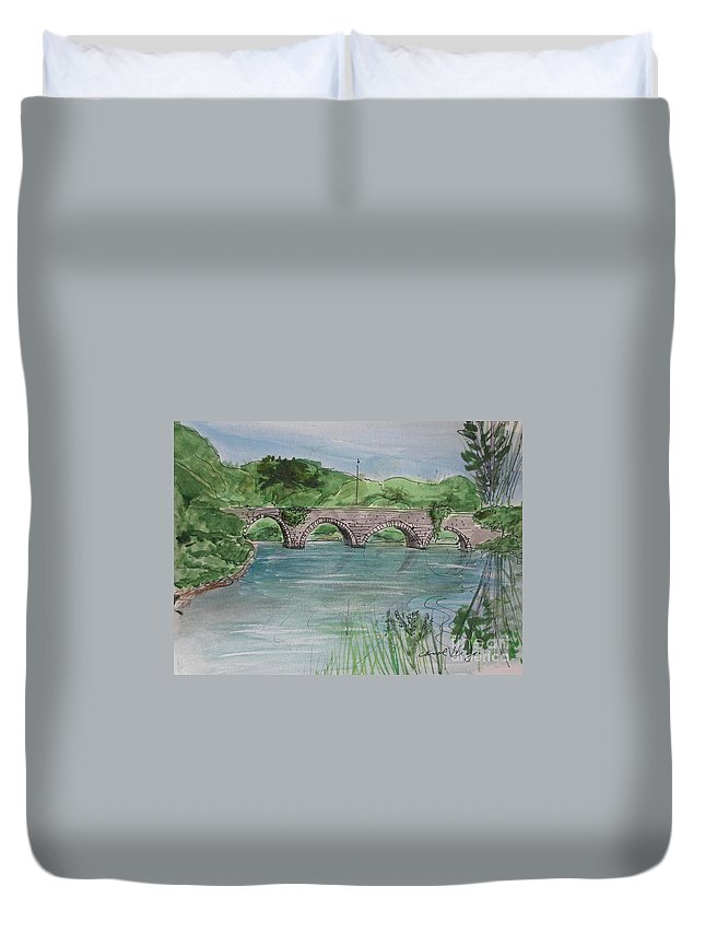 Bridge In Bunclody Duvet Cover featuring the drawing Bridge In Bunclody, Ireland by Carol Veiga