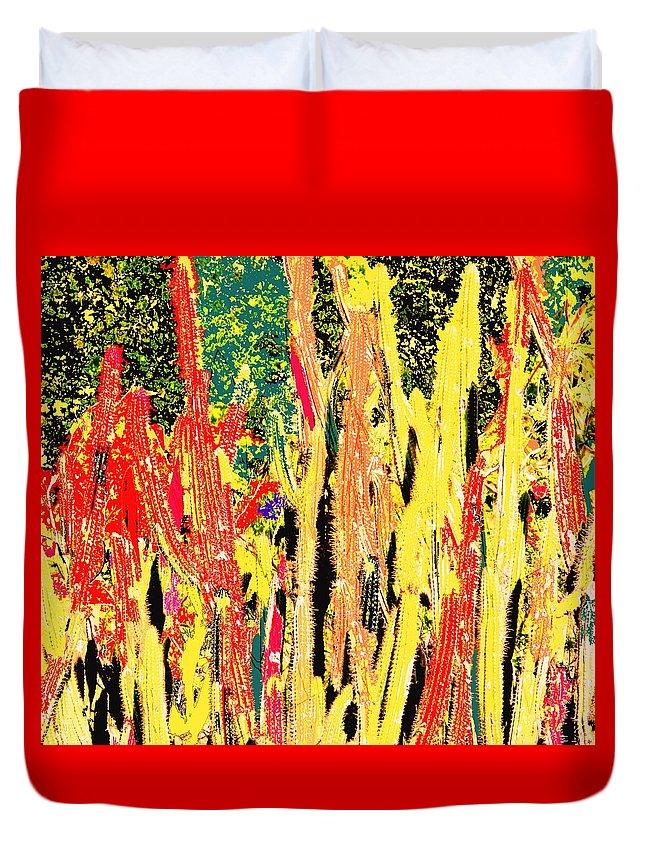 Cactus Duvet Cover featuring the digital art Bridgestone Cacti by Ian MacDonald