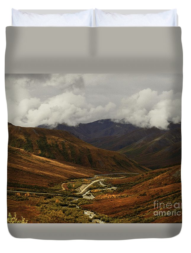Brooks Range Duvet Cover featuring the photograph  Brooks Range, Dalton Highway And The Trans Alaska Pipeline by Teresa A and Preston S Cole Photography