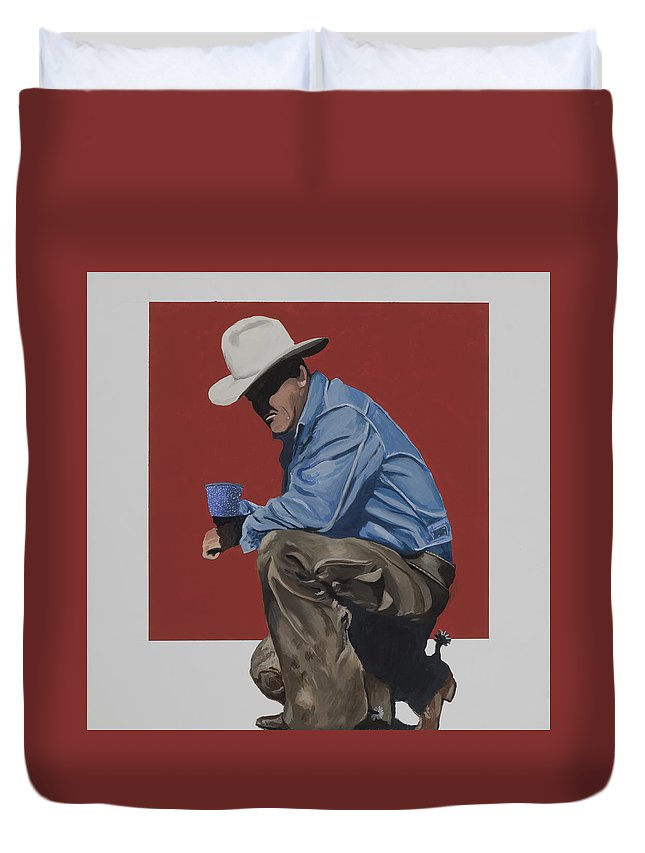 Cowboy Drinking Coffee Duvet Cover featuring the painting Coffee Time by Marston A Jaquis