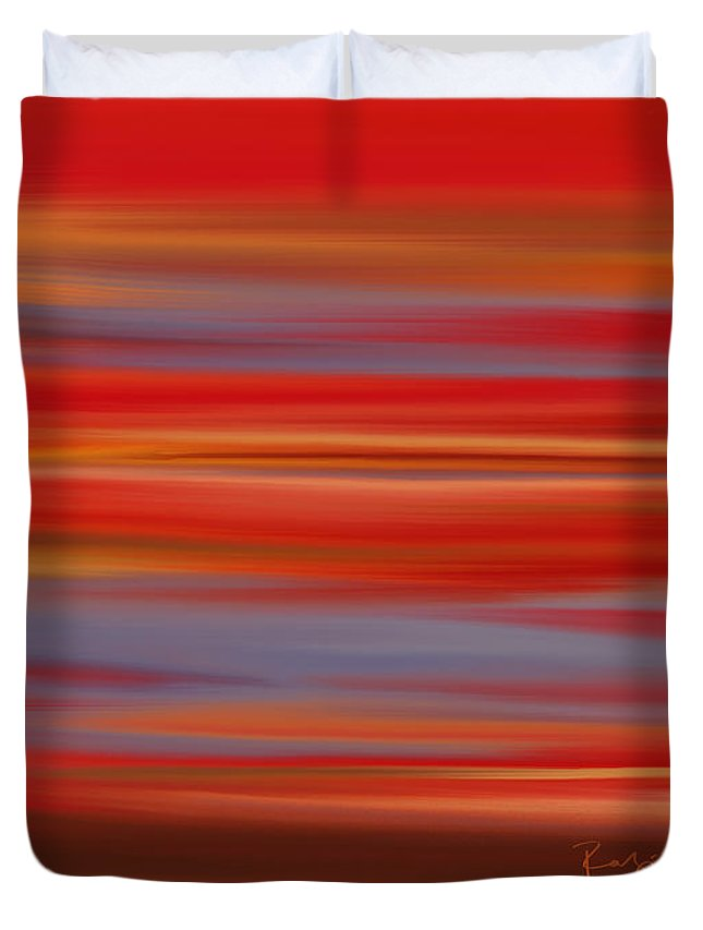 Abstract Duvet Cover featuring the digital art Evening In Ottawa Valley by Rabi Khan