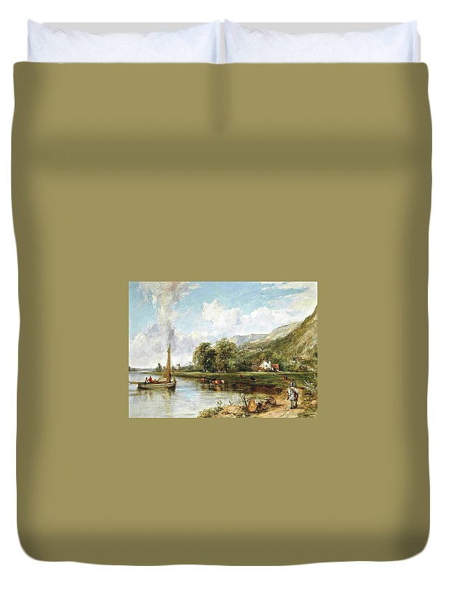 Frederick Waters Watts - Fishing On The Estuary Duvet Cover featuring the painting Fishing On The Estuary by MotionAge Designs