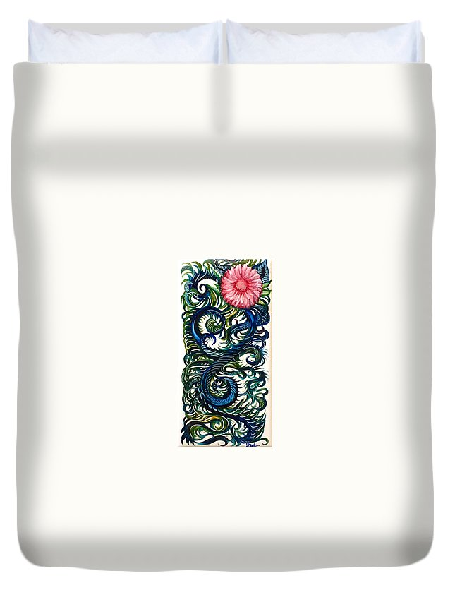 Pink Duvet Cover featuring the painting Flower On Swirley Vine Unframed by Karen Doyle