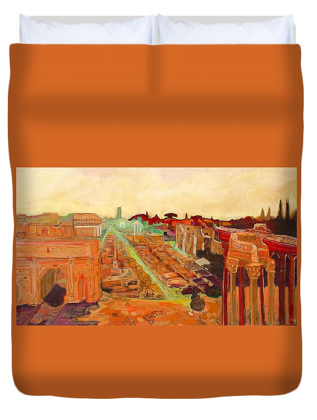Rome Duvet Cover featuring the painting Foro Romano by Kurt Hausmann