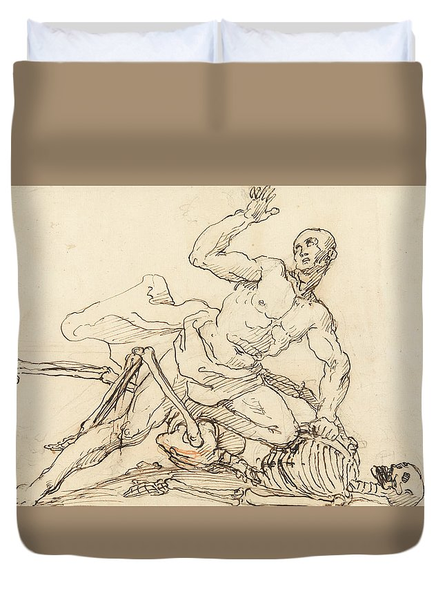 William Hogarth Duvet Cover featuring the drawing George Taylor's Epitaph - George Taylor Breaking The Ribs Of Death by William Hogarth