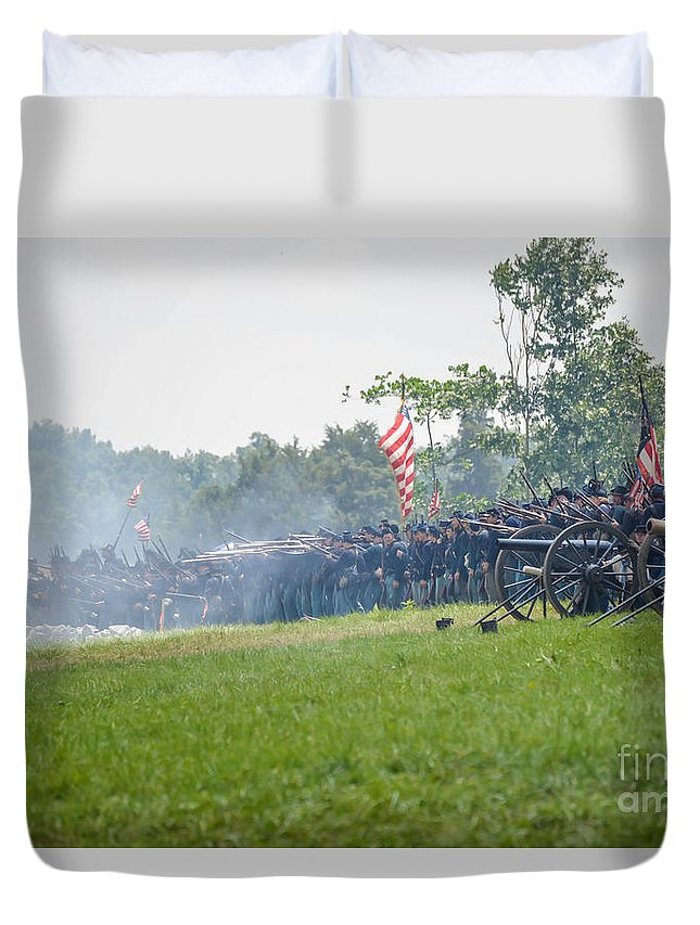 150th Duvet Cover featuring the photograph Gettysburg Union Infantry 9968c by Cynthia Staley