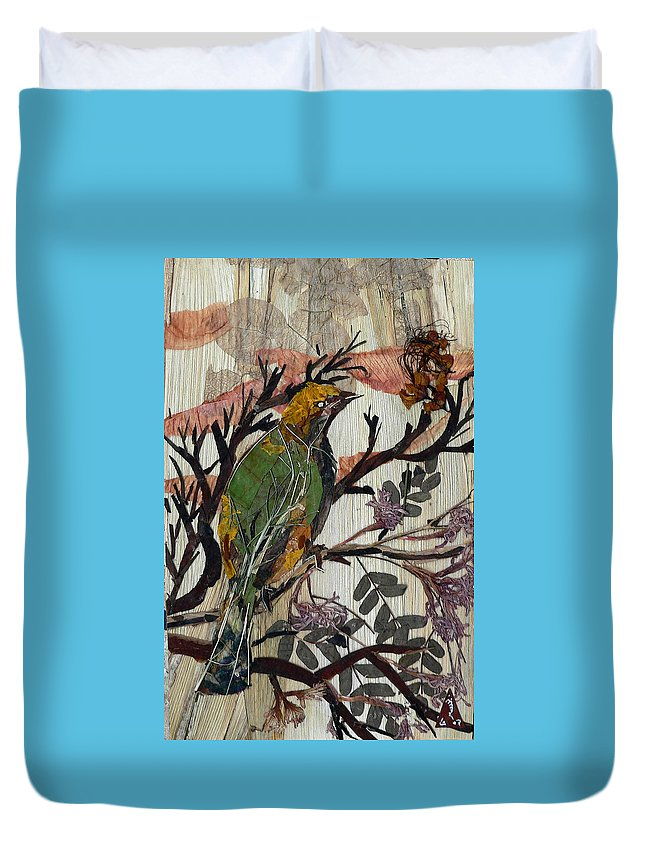 Green Bird Duvet Cover featuring the mixed media Green-yellow Bird by Basant Soni