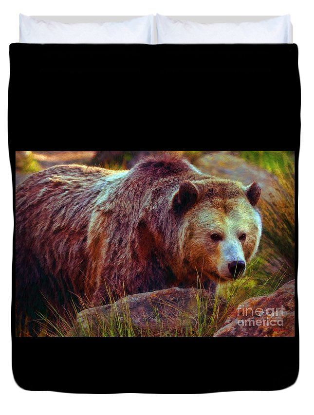 Grizzly Bear Duvet Cover featuring the photograph Grizzly Bear In Rocks by Blake Richards