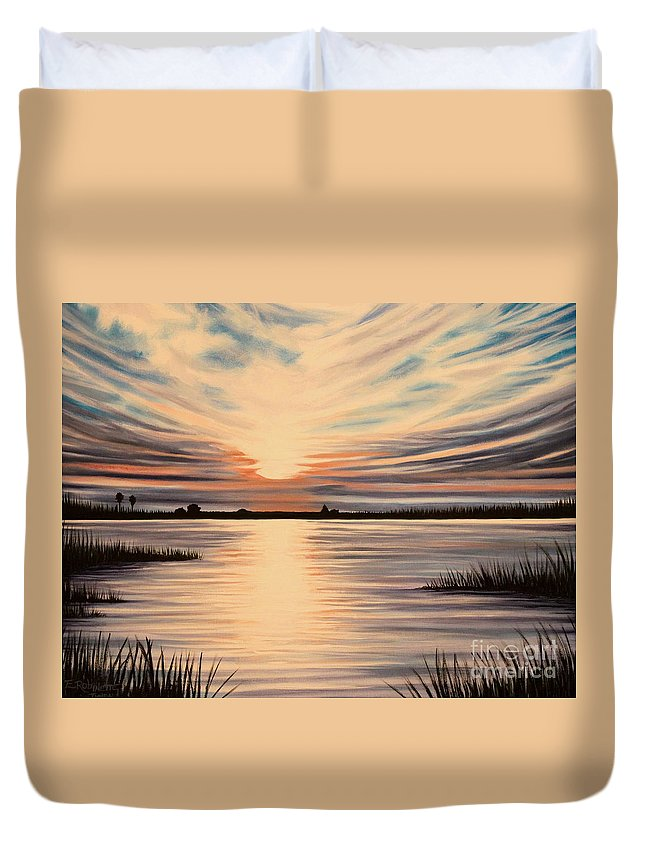 Sunset Duvet Cover featuring the painting Highlights Of A Sunset by Elizabeth Robinette Tyndall