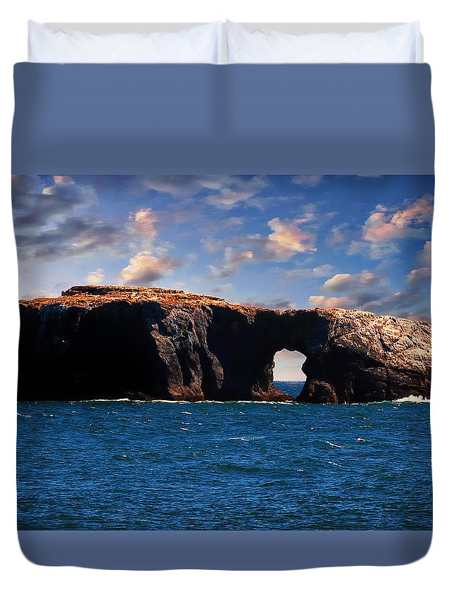 Duvet Cover featuring the photograph  Hole Island by Toby Horton