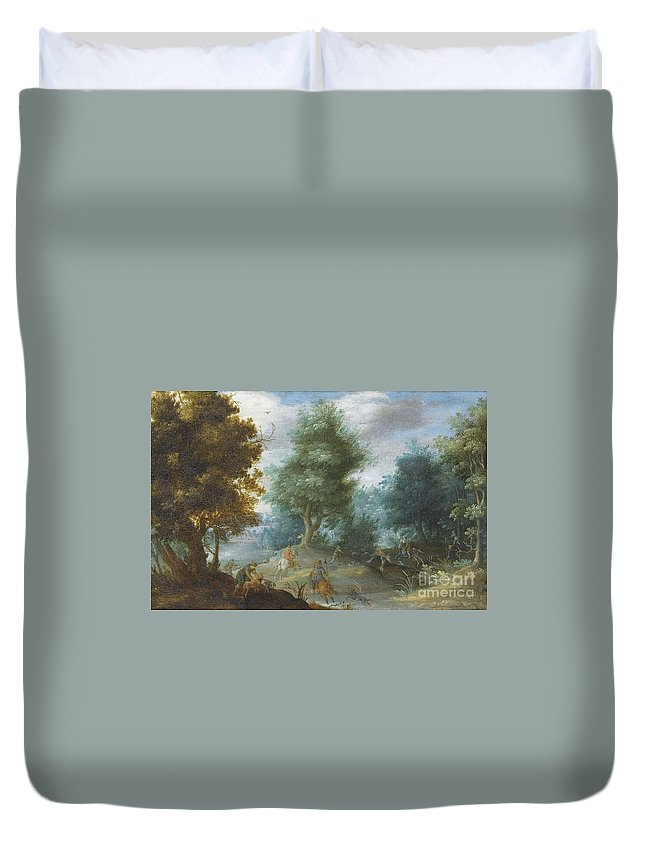 Mattheus Molanus ; Hunting With Hounds Duvet Cover featuring the painting Hunting With Hounds by Celestial Images