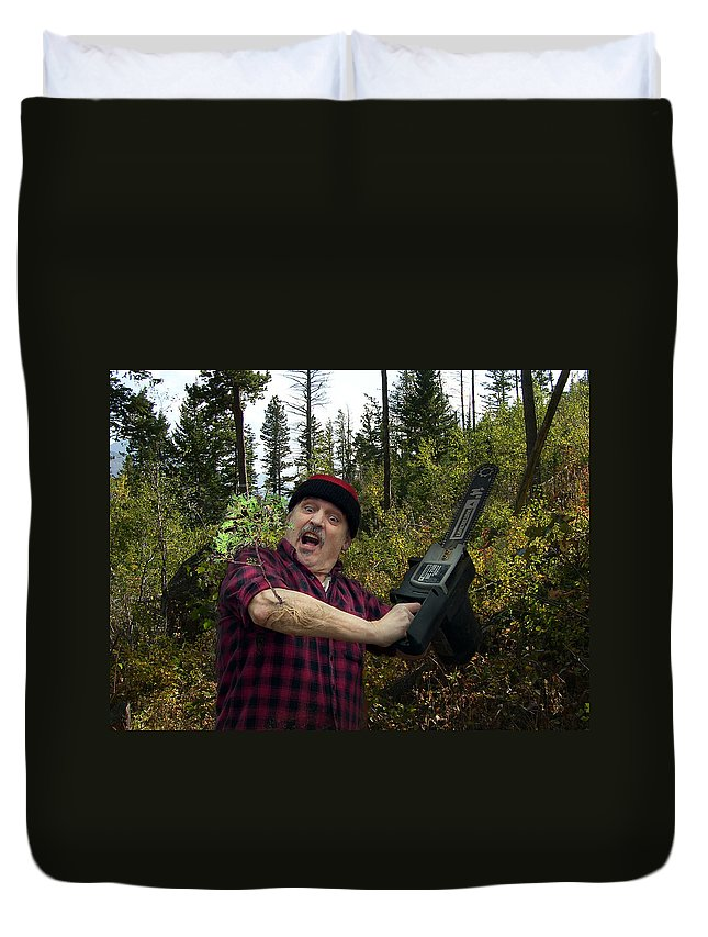 Surrealism Fantastic+realism Cloning Parasites Lumberjack Chainsaw Selfportrait Duvet Cover featuring the digital art I Am A Lumberjack I Am Ok by Otto Rapp