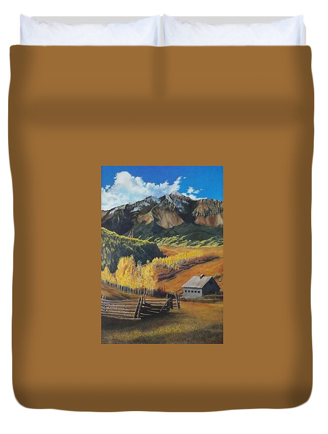 Colorado Rockies Duvet Cover featuring the painting I Will Lift Up My Eyes To The Hills Autumn Nostalgia Wilson Peak Colorado by Anastasia Savage Ealy