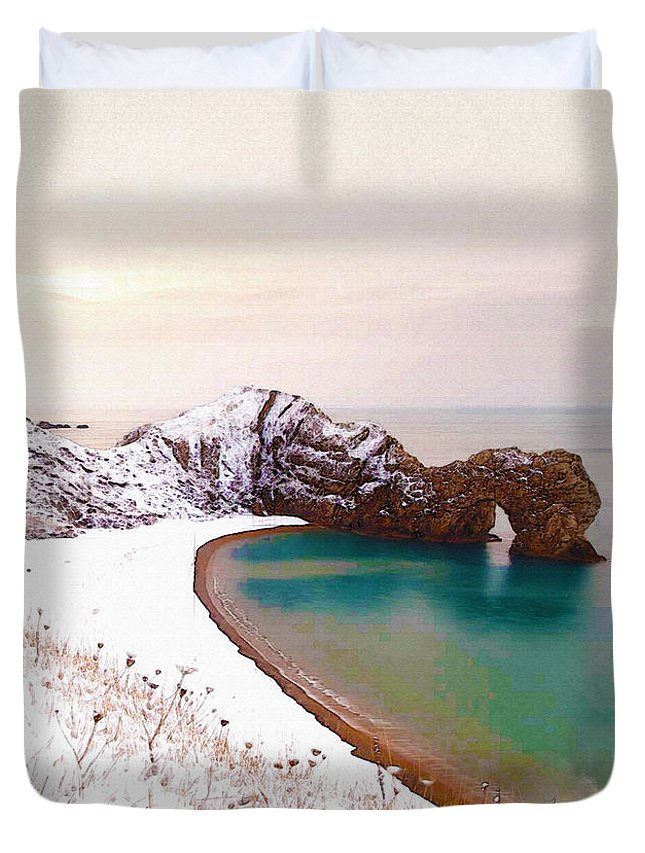 Poster Duvet Cover featuring the digital art Illustration Of The Durdle Door In Snow by Don Kuing