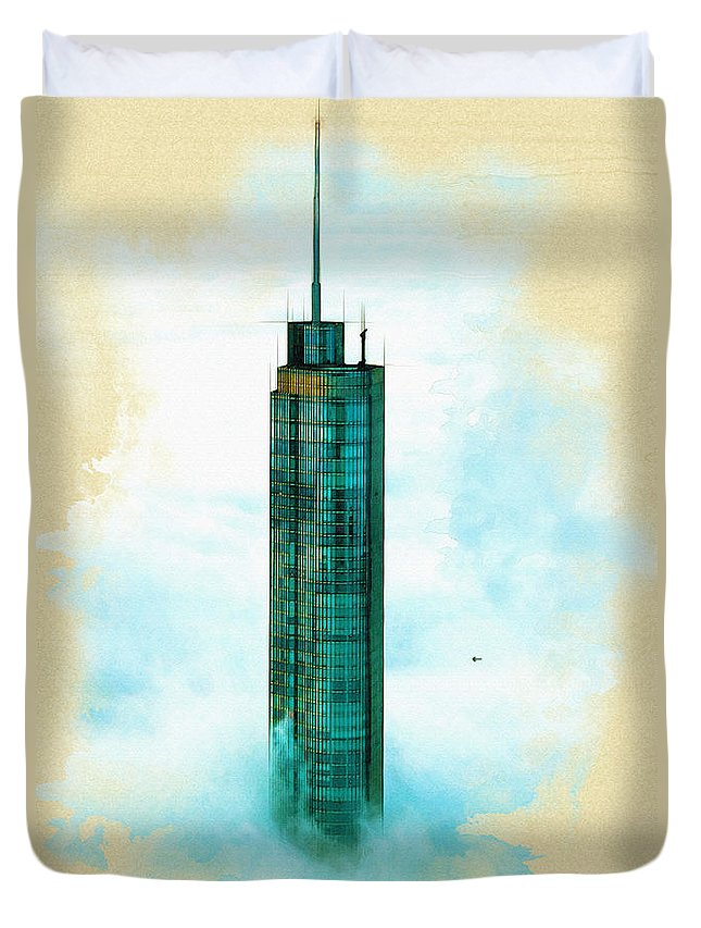 Poster Duvet Cover featuring the digital art Illustration Of Trump Tower by Don Kuing