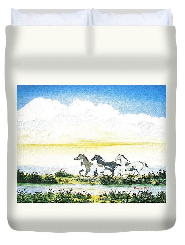 Chincoteague Duvet Cover featuring the painting Indian Ponies by Jerome Stumphauzer