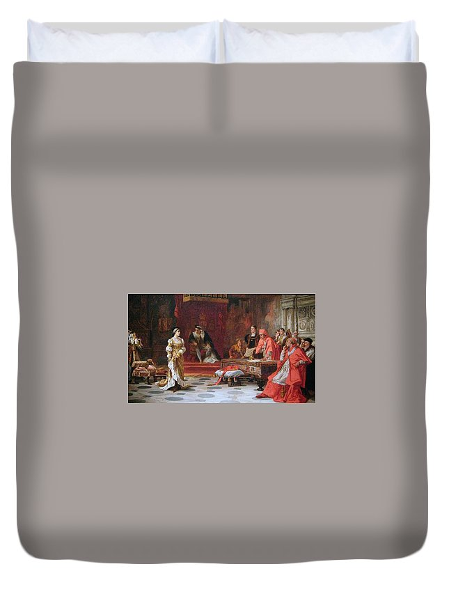 Laslett John Pott - Katherine Of Aragon Denounced Before King Henry Viii And His Council Ca. 1880 Duvet Cover featuring the painting Katherine Of Aragon Denounced Before King Henry by MotionAge Designs