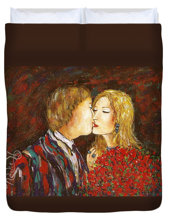 Passion Duvet Cover featuring the painting Kiss by Natalie Holland