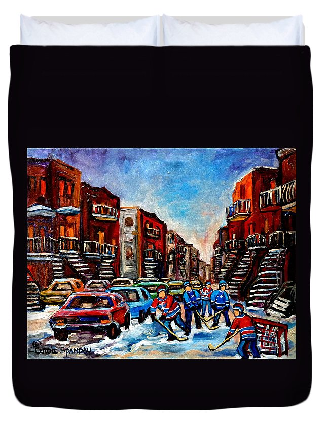 Montreal Duvet Cover featuring the painting Late Afternoon Street Hockey by Carole Spandau